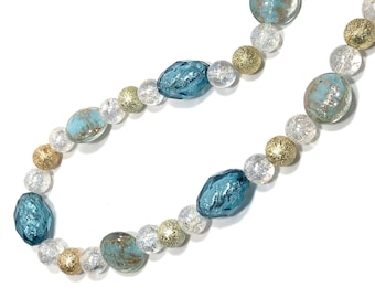 Blue, Clear & Gold Beaded Chunky Necklace