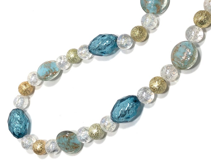 Blue, Clear, Gold Beaded Necklace, Chunky, Perfect Gift For Wife