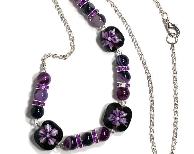 Tropical Floral Necklace, Purple Beaded