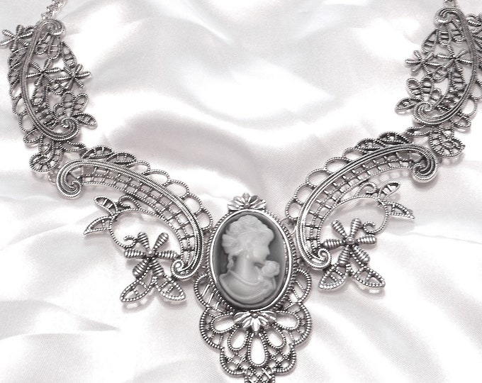Silver Victorian Style Collar Necklace with Cameo