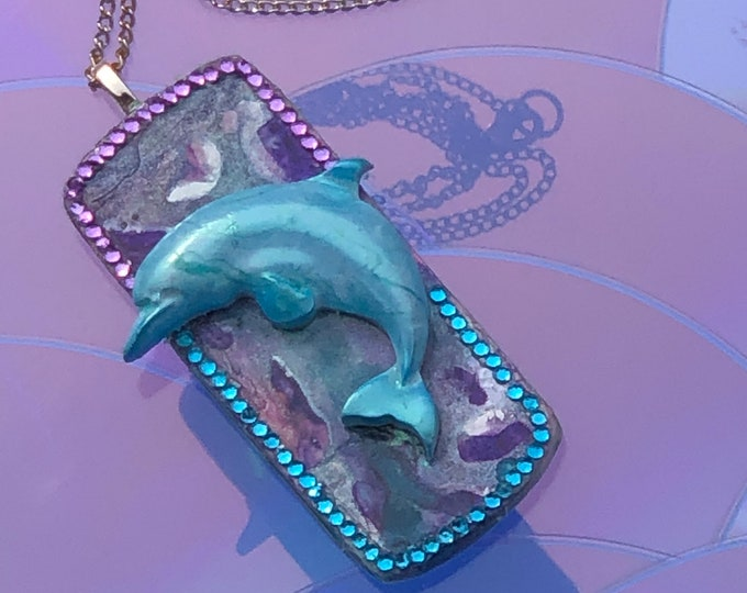 3D Dolphin Pendant Necklace Turquoise and Purple