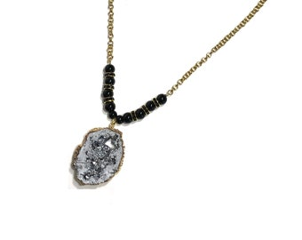 Silver Geode Necklace, Black and Gold Beads