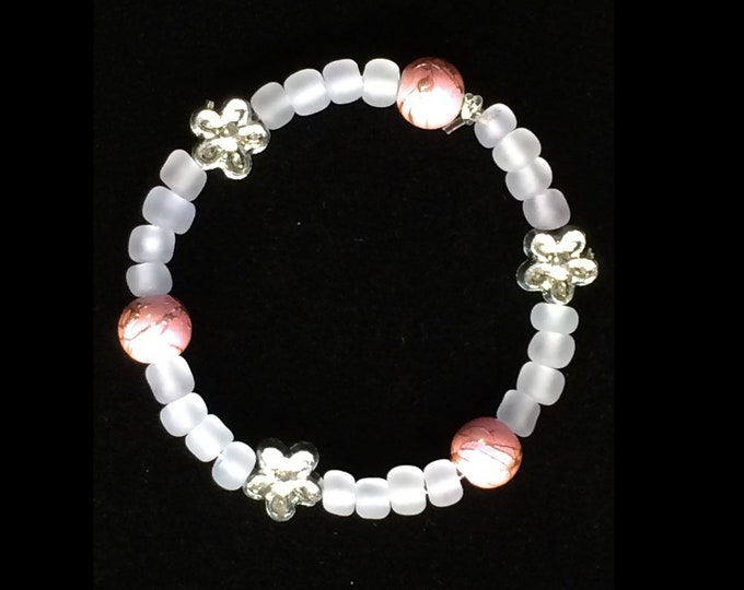 Pink And White Baby Bracelet With Silver Flowers, Unique, Chic Christening Gift