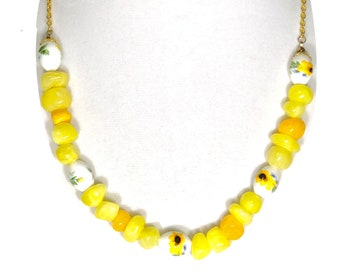 Chunky Yellow Beaded Sunflower Necklace, Unique Gift For Girlfriend or Mother
