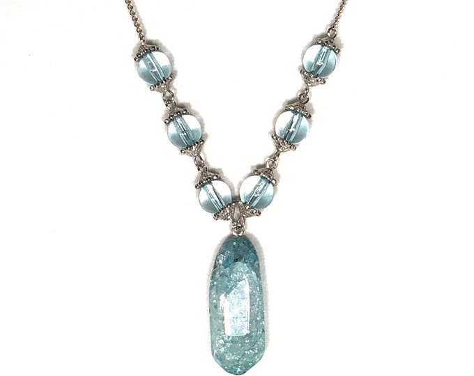 Ice Blue Crystal Pendant Necklace