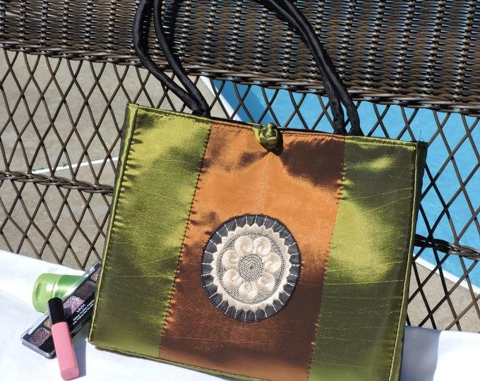Green and Bronze Tote Bag, Beach Bag, Purse