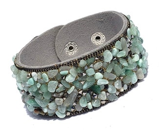 Gray Leather Cuff Bracelet With Natural Green Gravel Stone, Special Friend Gift