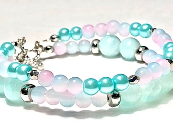 Pastel Pink And Blue Double Strand Beaded Bracelet