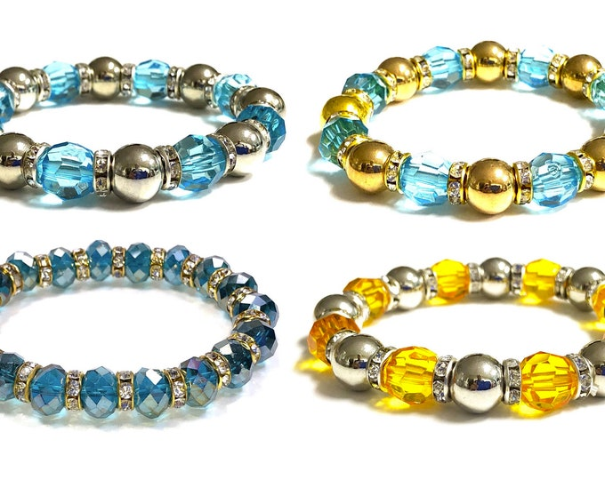 Girl's Multi Color Beaded Stretch Bracelet, Boho, Plastic Trendy Blue Yellow, Stackable