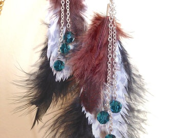 Feather Earrings, Cheetah Print, Black, Sable Feathers, Teal Crystals