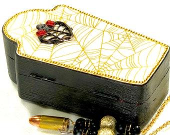 Coffin Treasure Box, Jewelry Box with Spider Web, Heart