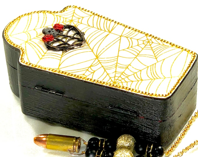 Coffin Treasure Box, Jewelry Box with Spider Web, Heart