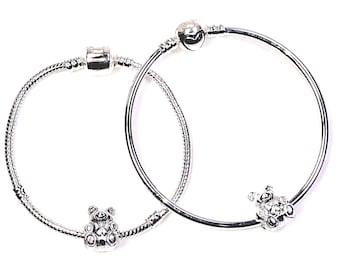 "Little Girls Silver Tone Bracelets with Bear Charm, 6""-6.5"""