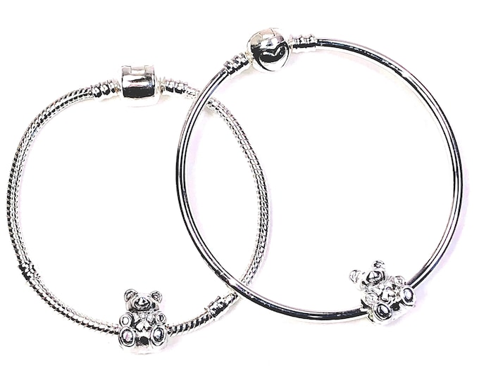 "Little Girls Silver Tone Bracelets with Bear Charm, 6""-6.5"""