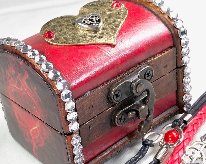 Small Red Treasure Box, Jewelry and Trinket Box with Hearts