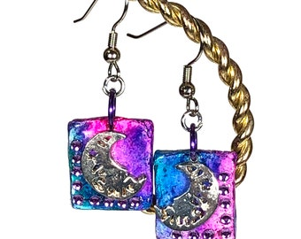 Blue & Pink Square Earrings With Moon and Stars
