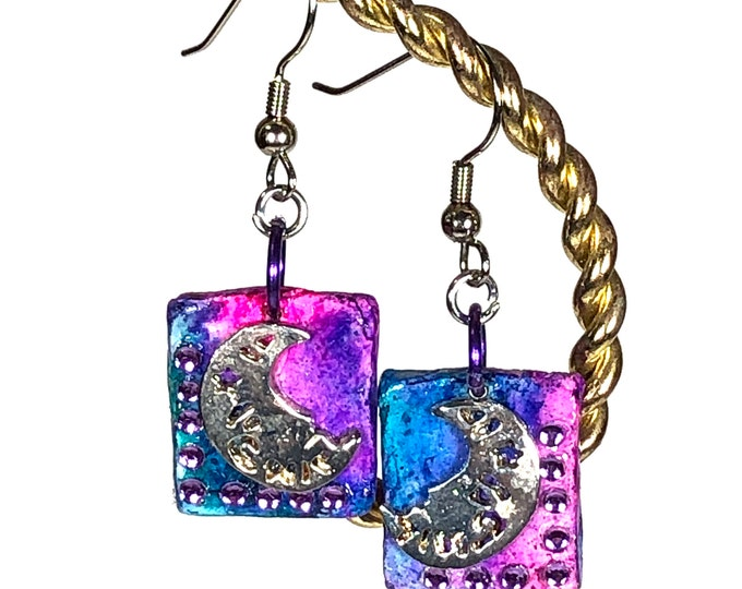 Blue & Pink Celestial Earrings/Moon and Stars