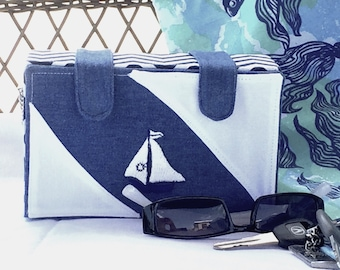 Blue & White Box Purse With Sailboat