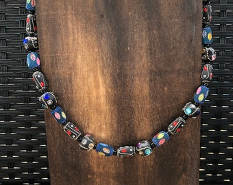 Chunky Black and Multicolor Beaded Necklace, African Style