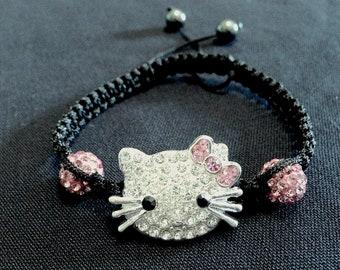 Rhinestone Hello Kitty Black Braided BoHo Bracelet
