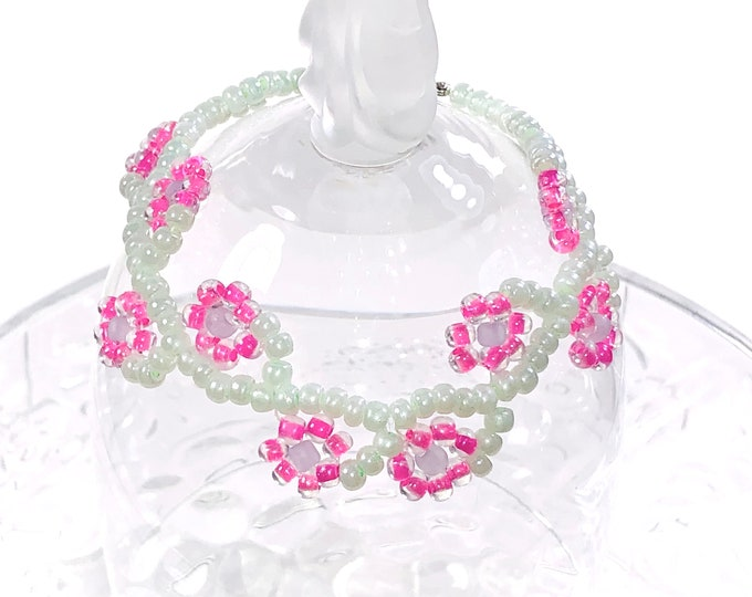Pink And Green Floral Beaded Bracelet, Perfect Maid of Honor Gift