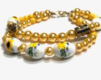 Yellow Sunflower Bracelet, Double Strand, Size Large, Chunky Bracelet