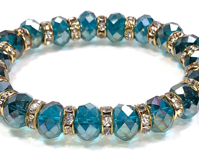 Teal And Gold Crystal Stretch Bracelet For Women, Perfect Bridesmaid Gift, Trendy Birthday Gift