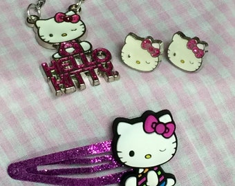 Hello Kitty 4 Piece Set, Necklace, Barrette, Earrings and Purse