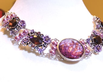 5 Stone Amethyst Choker Necklace