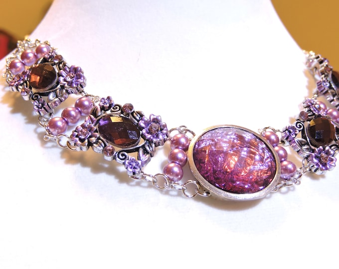 5 Stone Amethyst Choker Necklace, Gorgeous Anniversary Gift, Perfect Gift for Mom