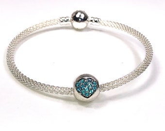 Girl's Bangle Charm Bracelet With Blue Crystal Heart Charm