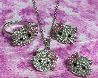 Hello Kitty 3 Pc Jewelry Set, Necklace, Earrings, Ring