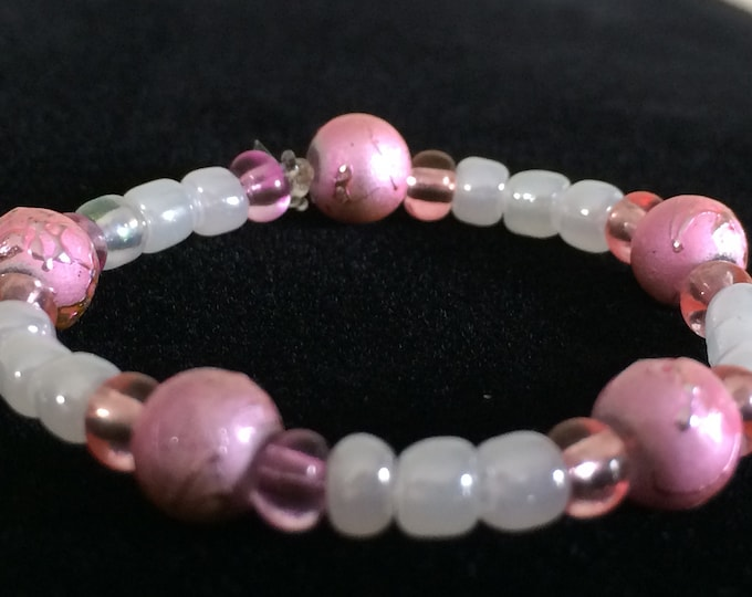 Baby Girl Bracelet, Delicate White Pink, perfect baby gift