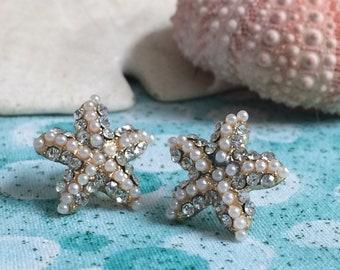 Rhinestone and Pearl Starfish Earrings