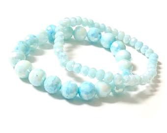 Set of 2 Light Blue Glass Beaded Stretch Bracelets