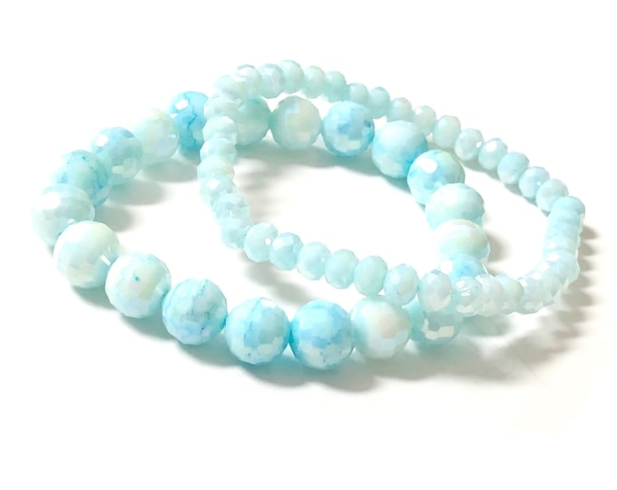 Set of 2 Light Blue Glass Beaded Stretch Bracelets