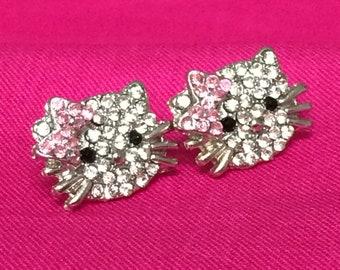 Hello Kitty Crystal Girls Pierced Earrings