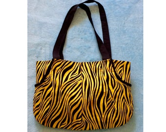 Tiger, Zebra Black and Yellow Purse Tote Shoulder Bag