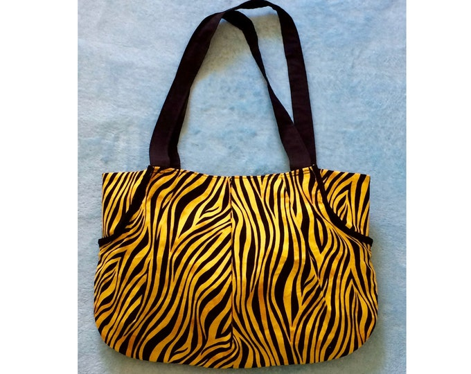 Black and Yellow Purse, Tiger, Zebra Stripe, Tote Bag