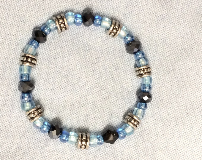 Baby, Child's Beaded Bracelet, Blue and Silver 6-12 months