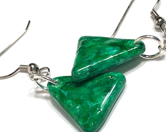 Green Triangle Dangle Earrings for Teens and Women