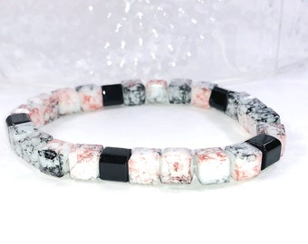 Pink And Black Beaded Stretch Bracelet