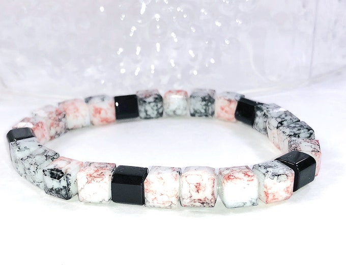 Pink And Black Beaded Stretch Bracelet,Trendy Gift