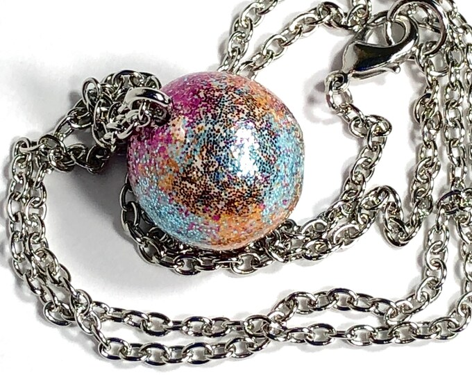 Galactic Necklace, Round Space Theme, Celestial Pendant