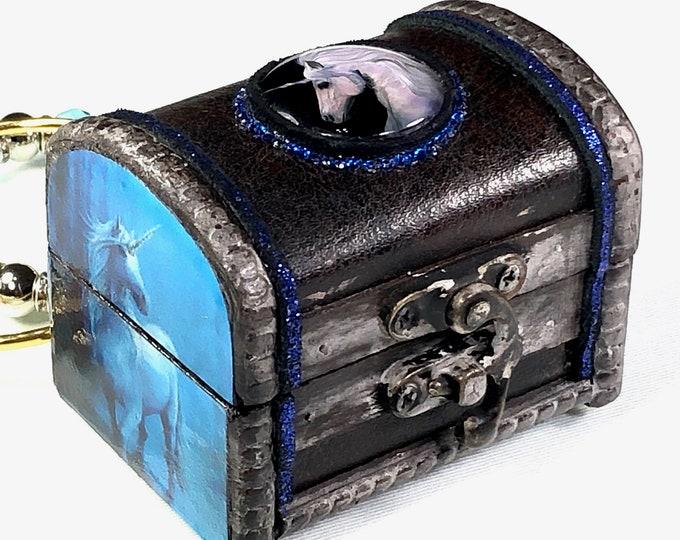 Unicorn Treasure Box, Brown Leather Jewelry and Trinket Box
