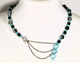 Blue and Black Beaded Necklace With Hearts and Chains, Matine style, Perfect Anniversary Gift