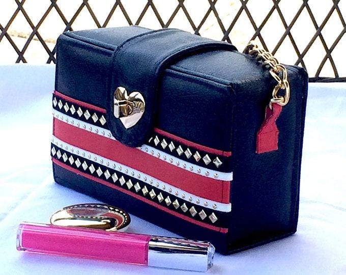 Red And Black Retro Style Leather Box Purse, Unique Girlfriend Gift