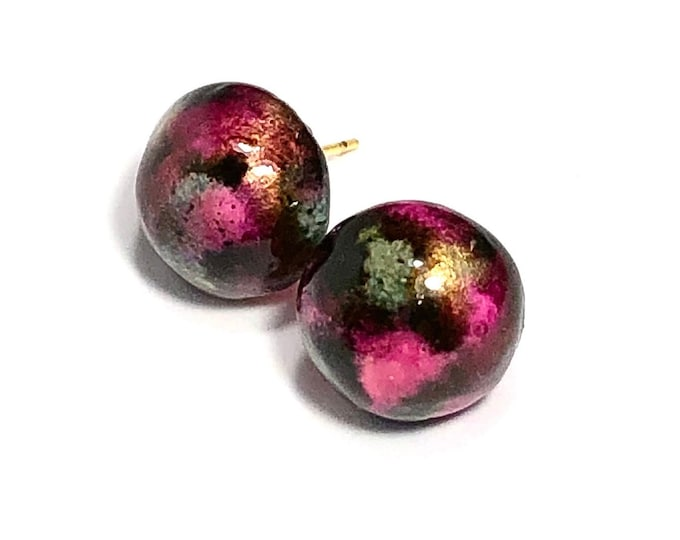 Pink, Black, and Gold Dome Earrings, Great Gift For Mom