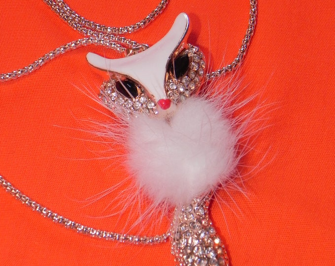 White Fox Pendant Necklace With Rhinestones, Great Gift For Mom