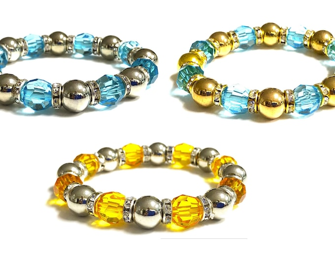 Girl's Multi Color Beaded Stretch Bracelet, Boho, Trendy Blue and Yellow, Stackable